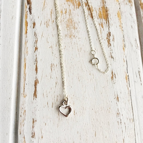 Sterling Silver Heart Outline Charm Necklace