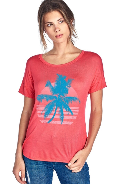 Palm Tree Short Sleeve Top