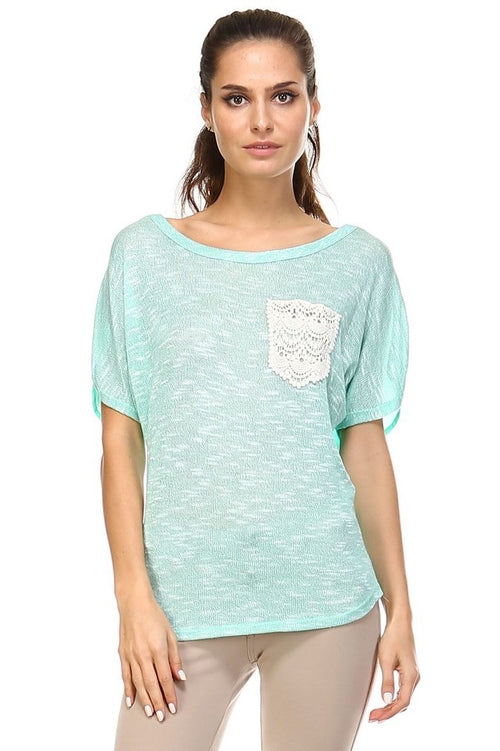 Short Sleeve Lace Pocket Top