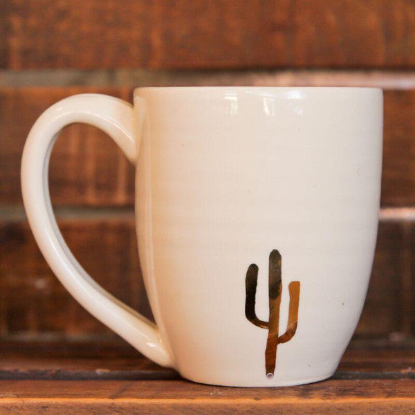 Ceramic 14k Gold Cactus Mugs