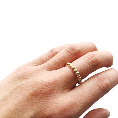 Stylish Gold Filled Beaded Ring