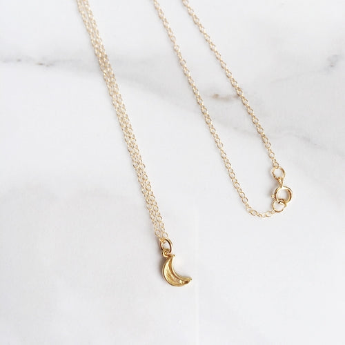 Mini Crescent Moon 14k Gold Filled Necklace