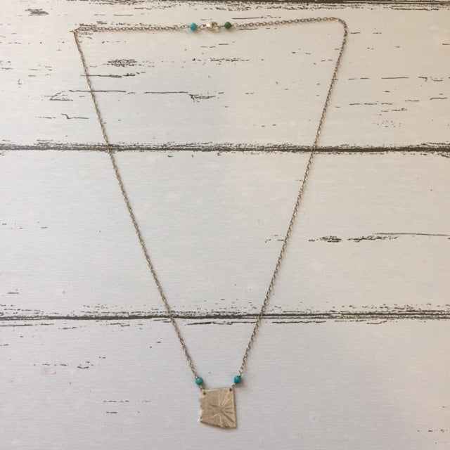 Arizona State + Flag Stamped Necklace