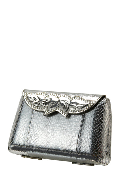 Vintage Rose Silver Clutch Bag - MY FLASH TRASH