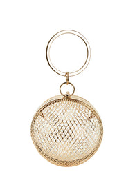 Gold Cage Sphere clutch bag - MY FLASH TRASH