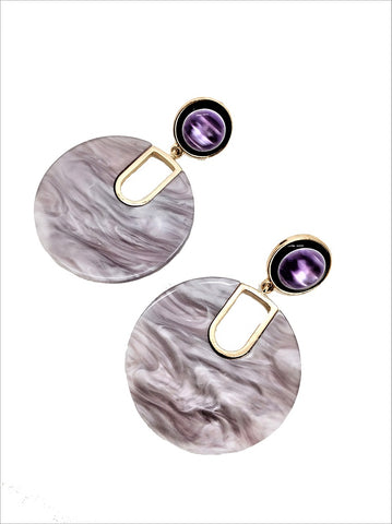 Lavender Marble Statement Earring - MY FLASH TRASH