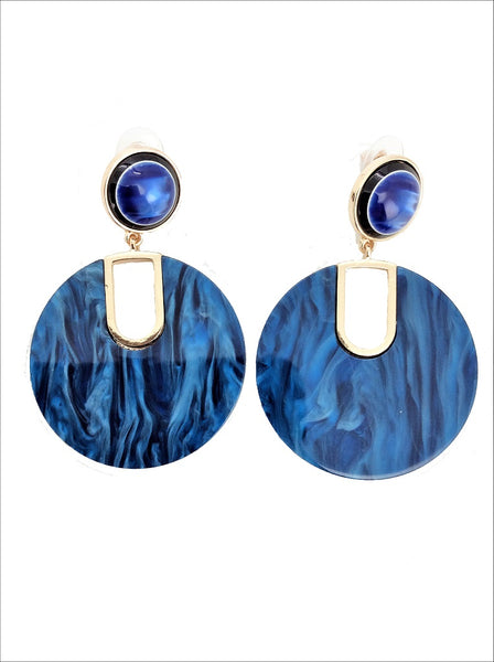 Navy Marble Statement Earring - MY FLASH TRASH