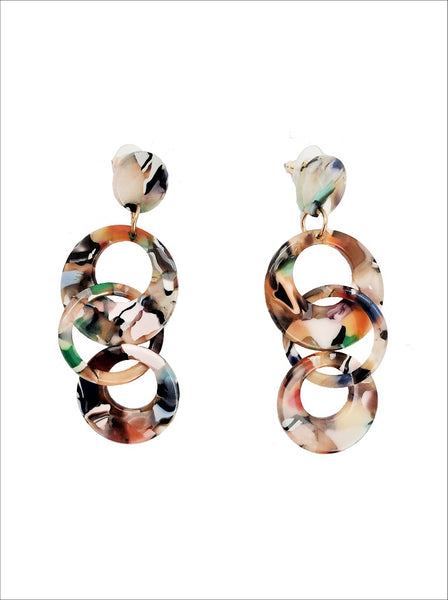 Channel multi marble drop earring