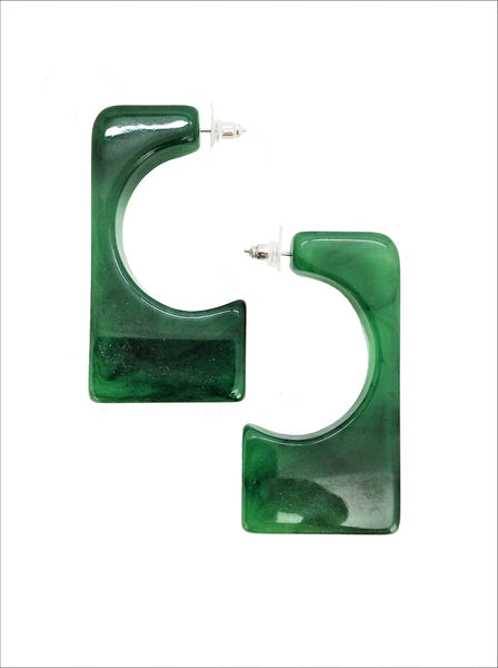 Green Marble Resin Geo Earring - MY FLASH TRASH