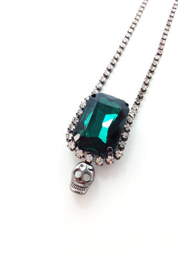 Green Crystal Skull Necklace - MY FLASH TRASH