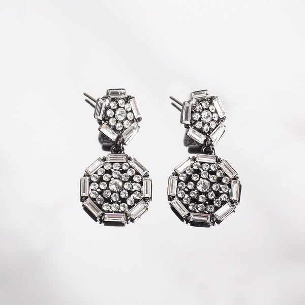 Geometry metal earrings with rhinestone - MY FLASH TRASH