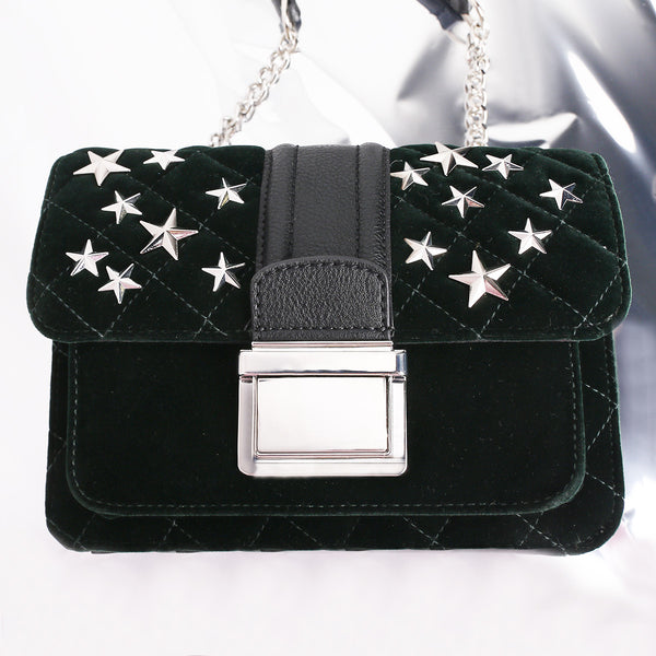 Star Stud Qulited Chain Cross Body Bag