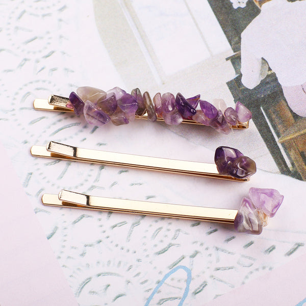 Amethyst Hair Slides - MY FLASH TRASH