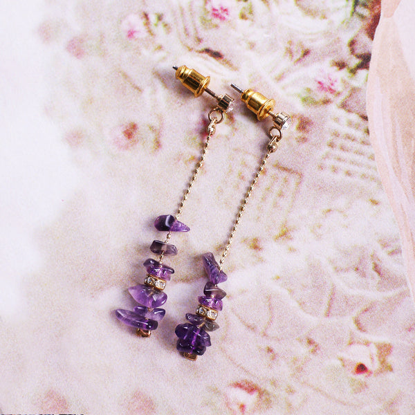 Dainty Amethyst Drop Earrings