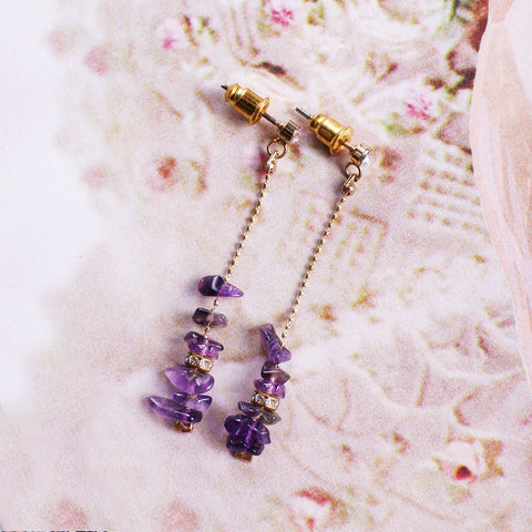 Dainty Amethyst Drop Earrings - MY FLASH TRASH