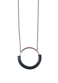 Hologram Hoop Leather Necklace - MY FLASH TRASH