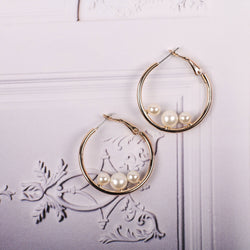 Geometry Pearl Hoop Earrings