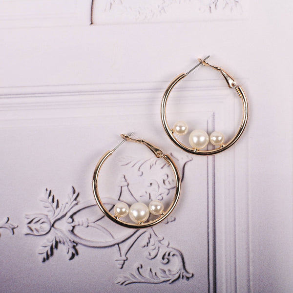 Geometry Pearl Hoop Earrings - MY FLASH TRASH