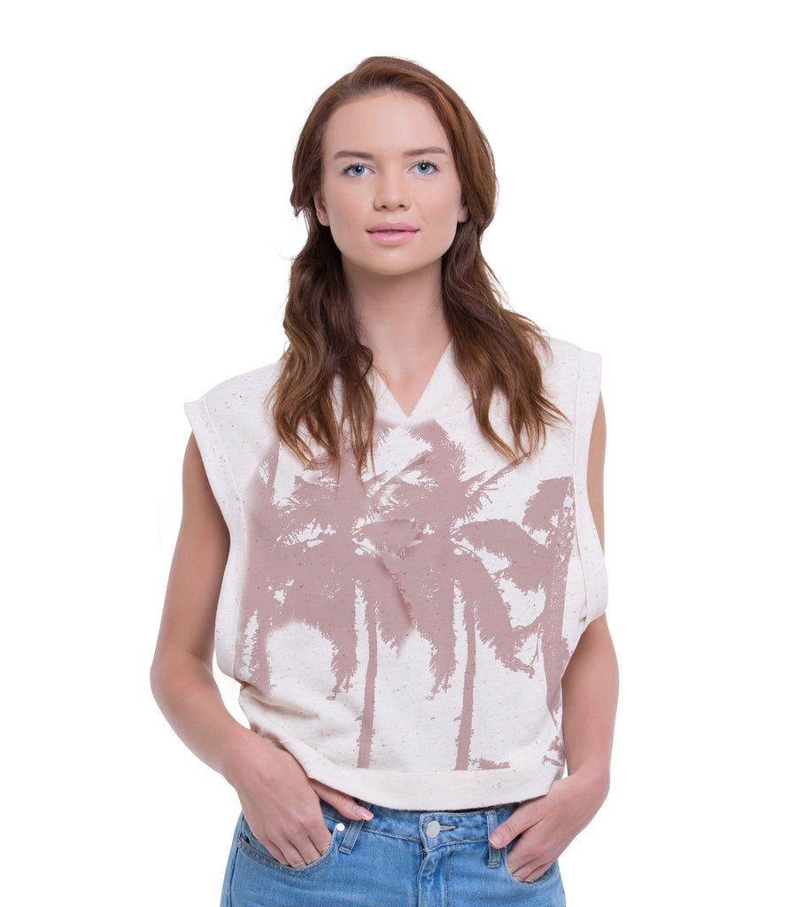 WOMEN'S PULLOVER PALM TREE CROP VEST HOODIE