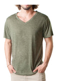 MEN'S SPECKLED JERSEY V NECK TEE