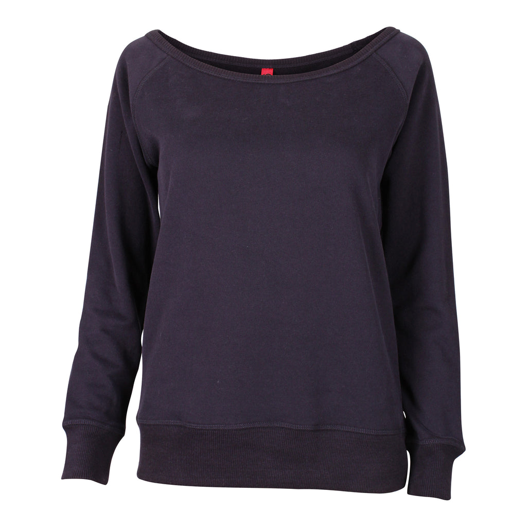 WOMEN'S PULL-OVER SWEATSHIRT WITH WIDE SCOOP NECK