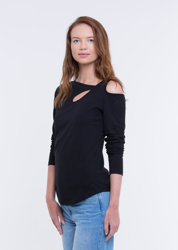WOMEN'S RECYCLE JERSEY COLD SHOULDER CUTOUT LONG SLEEVES