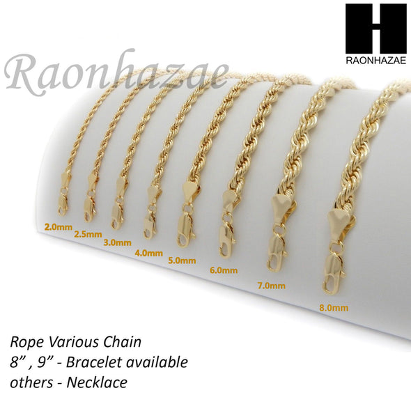 "NEW 14K GOLD PLATED BRASS ROPE NECKLACE VARIOUS CHAIN NEW 14K GOLD PLATED ROPE NECKLACE CHAIN (3mm to 10mm) w/ (8""/9""/18""/20""/24""/30""/36"") SB001G - Raonhazae"