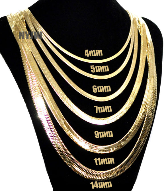 "Mens Herringbone Yellow 14k Gold Plated 4 to14mm wide 20"" 24"" 30"" Chain Necklace - Raonhazae"