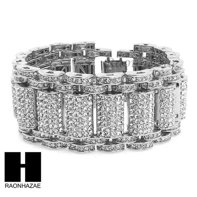 ICED OUT ALL RHODIUM PLATED MICRO PAVE SIMULATED DIAMOND 8.5 BRACELET KB023S - Raonhazae