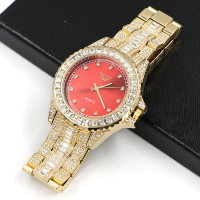Raonhazae Hip Hop Iced Lab Diamond 14K Gold /Red Plated Watch with Stone - Raonhazae
