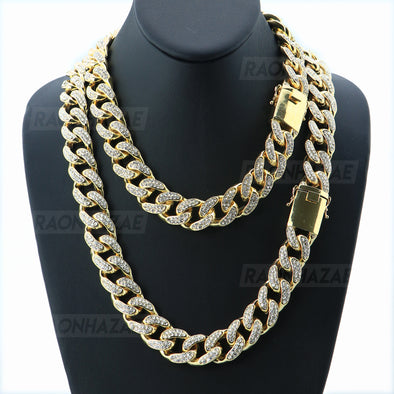"Miami Cuban 14k Gold Plated 6 to 20mm wide 18"" 20"" 24"" Chain Necklace Bracelets 628 - Raonhazae"