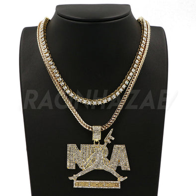 "NEVER BROKE AGAIN NBA Pendant W/ 18"" Franco Chain / Tennis Choker - Raonhazae"