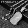 Hip Hop Blinged Out Dog Tag Pendant w/ 5mm Miami Cuban Chain - Raonhazae
