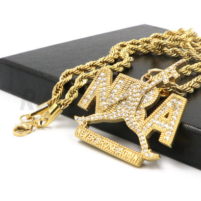 "Stainless Steel Gold ""NBA"" Never Broke Again Pendant w/ 4mm Rope Chain"