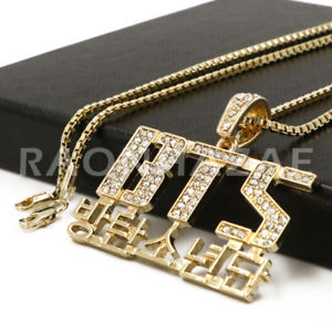 K-Pop BTS DNA Army Your Concert Korean Lettered Pendant w/ 2mm Box Chain Gold - Raonhazae