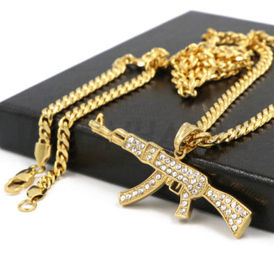 Stainless Steel Gold AK-47 Iced Out Pendant w/ 5mm Miami Cuban Chain