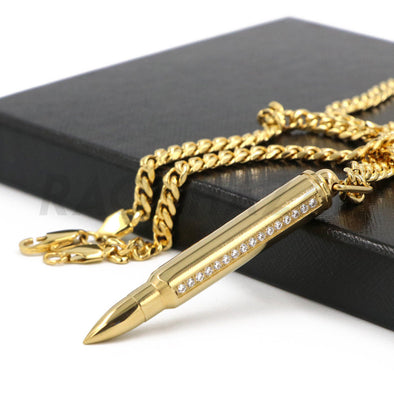 Stainless Steel Gold AK-47 Iced out Bullet Pendant w/ 5mm Miami Cuban Chain