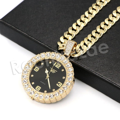"Hip Hop Iced Out Post Malone Watch Pendant Necklace W/10mm 24"" Miami Cuban Chain - Raonhazae"