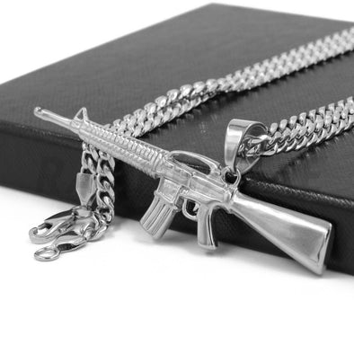 Stainless Steel Silver AK-47 Pendant Large w/ 5mm Miami Cuban Chain - Raonhazae