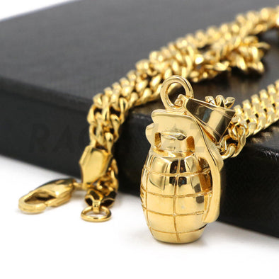 Stainless Steel Gold Grenade Pendant w/ 5mm Miami Cuban Chain - Raonhazae
