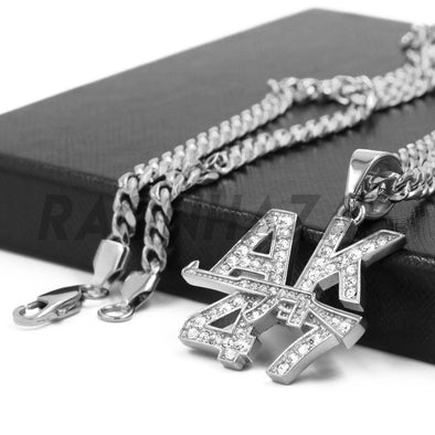 Stainless Steel Silver AK-47 Lettered Pendant w/ 5mm Miami Cuban Chain - Raonhazae