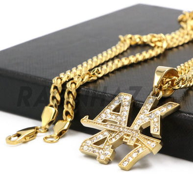 Stainless Steel Gold AK-47 Lettered Pendant w/ 5mm Miami Cuban Chain