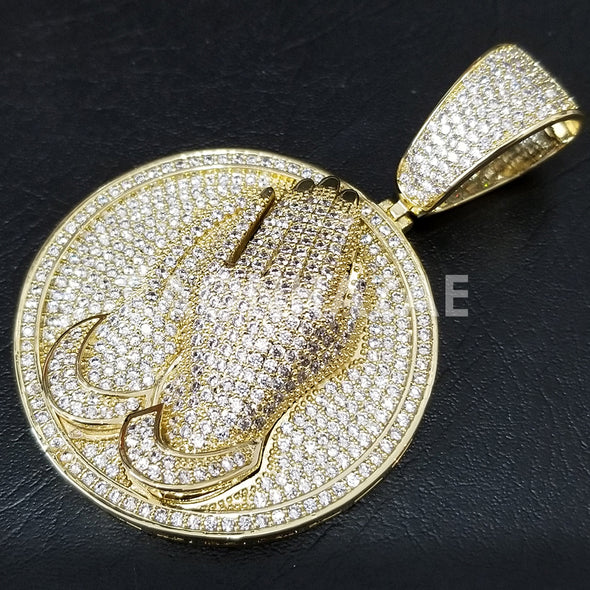 New Lab diamond Micro Pave JUMBO Praying Hands Pendant. - Raonhazae