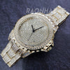 HIP HOP FULL ICED GOLD FINISHED LAB DIAMOND WATCH W/DOUBLE LOCK CUBAN BRACELET - Raonhazae