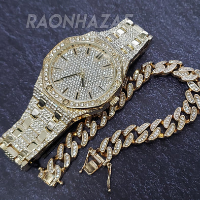 HIP HOP ICED GOLD FINISHED LAB DIAMOND YZY WATCH W/ BUST DOWN CUBAN BRACELET - Raonhazae