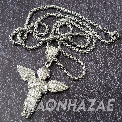 "316L Stainless Steel Silver PRAYING ANGEL W/3mm 24"" Box Chain - Raonhazae"