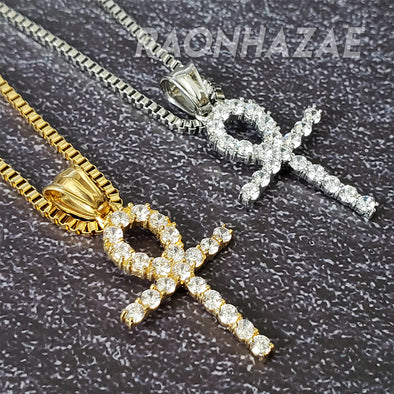 "316L Stainless Steel Gold Silver Ankh Cross Charm w/ 2mm 24"" Box Chain GM08 - Raonhazae"