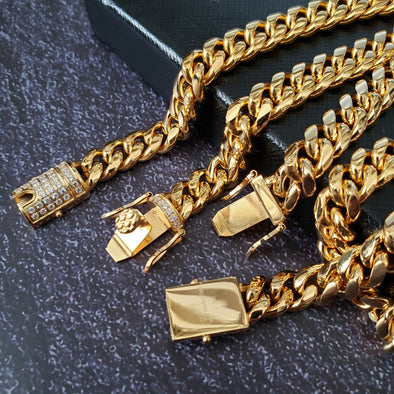 Stainless Steel Gold 8mm Miami Cuban Link Diamond Chain Necklace & Bracelet Set - Raonhazae