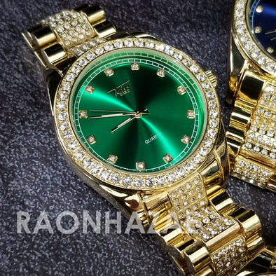 Raonhazae Hip Hop Iced Lab Diamond 14K Gold Plated Green Face Watch with Stone - Raonhazae