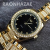 Raonhazae Hip Hop Iced Lab Diamond Black Face Drake 14K Gold Plated Watch with Miami Cuban Chain Set - GTX004 - Raonhazae